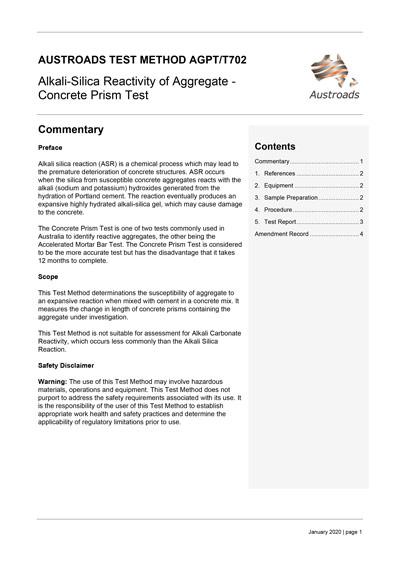 Cover of Alkali-Silica Reactivity of Aggregate - Concrete Prism Test