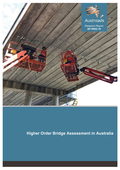 AP-R582-18 report cover showing two bridge inspectors examining the underside of a concrete bridge from cherry-pickers.