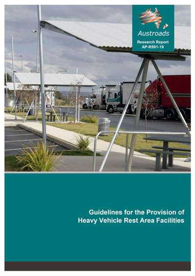 Cover of research report AP-R591-19 showing heavy vehicle rest area