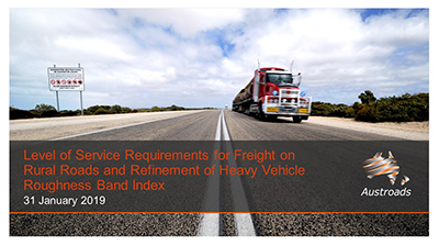Webinar: Level of Service Requirements for Freight on Rural Roads and Refinement of Heavy Vehicle Roughness Band Index