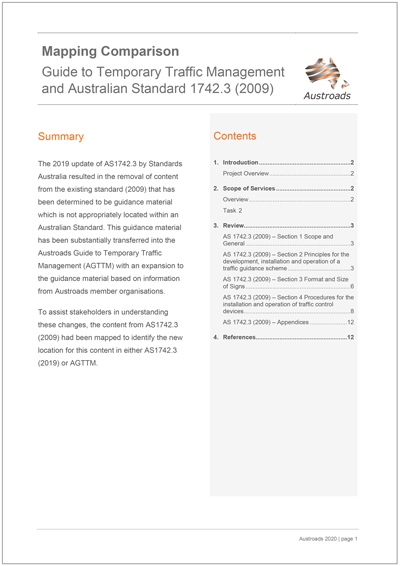 Mapping Comparison: Guide to Temporary Traffic Management and Australian Standard 1742.3 (2009)