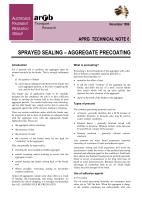 Sprayed Sealing - Aggregate Precoating