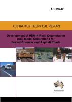 Development of HDM-4 Road Deterioration (RD) Model Calibrations for Sealed Granular and Asphalt Roads