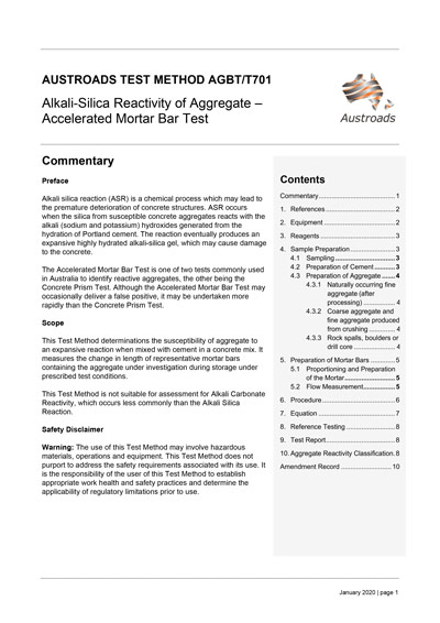 Cover of Alkali-Silica Reactivity of Aggregate – Accelerated Mortar Bar Test