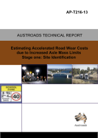 Cover of Estimating the Cost of Accelerated Road Wear due to Increased Axle Mass Limits - Stage one: Site Identification