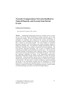 Cover of Towards Transportation Networks Resilient to Natural Hazards, and Lessons from Recent Events