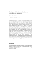 Cover of The Impacts of Compliance to Standards and Consequences for Sustainability