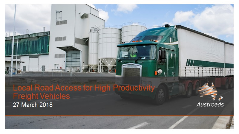 Cover of Webinar: Local Road Access for High Productivity Freight Vehicles