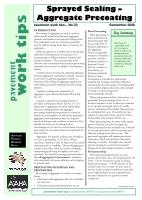Sprayed Sealing: Aggregate Precoating