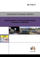 Cover of Implementation of Austroads Mix Design Procedures: 2009-2010