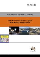 Cover of A Study of Stone Mastic Asphalt Bulk Density Measurement
