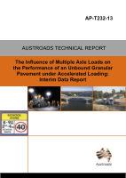 Cover of The Influence of Multiple Axle Loads on the Performance of an Unbound Granular Pavement under Accelerated Loading: Interim Data Report