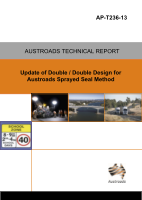 Cover of Update of Double / Double Design for Austroads Sprayed Seal Design Methods