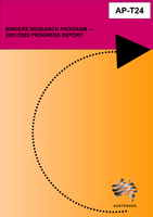 Cover of Binders Research Program: 2001/2002 Progress Report