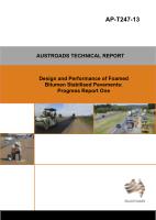 Design and Performance of Foamed Bitumen Stabilised Pavements: Progress Report 1