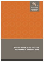 Cover of Literature Review of the Adhesion Mechanisms in Emulsion Seals